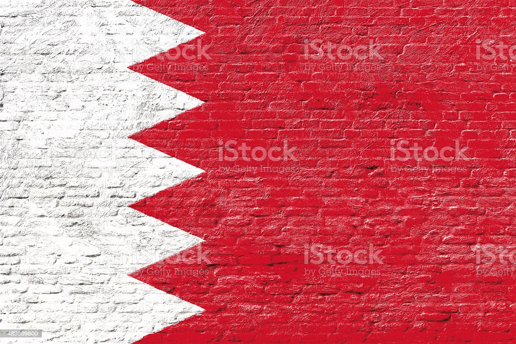Bahrain - National flag on Brick wall stock photo
