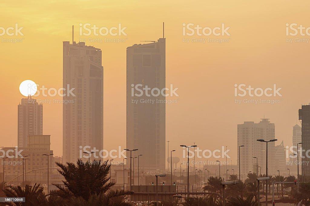 Bahrain Sunset Manama City stock photo