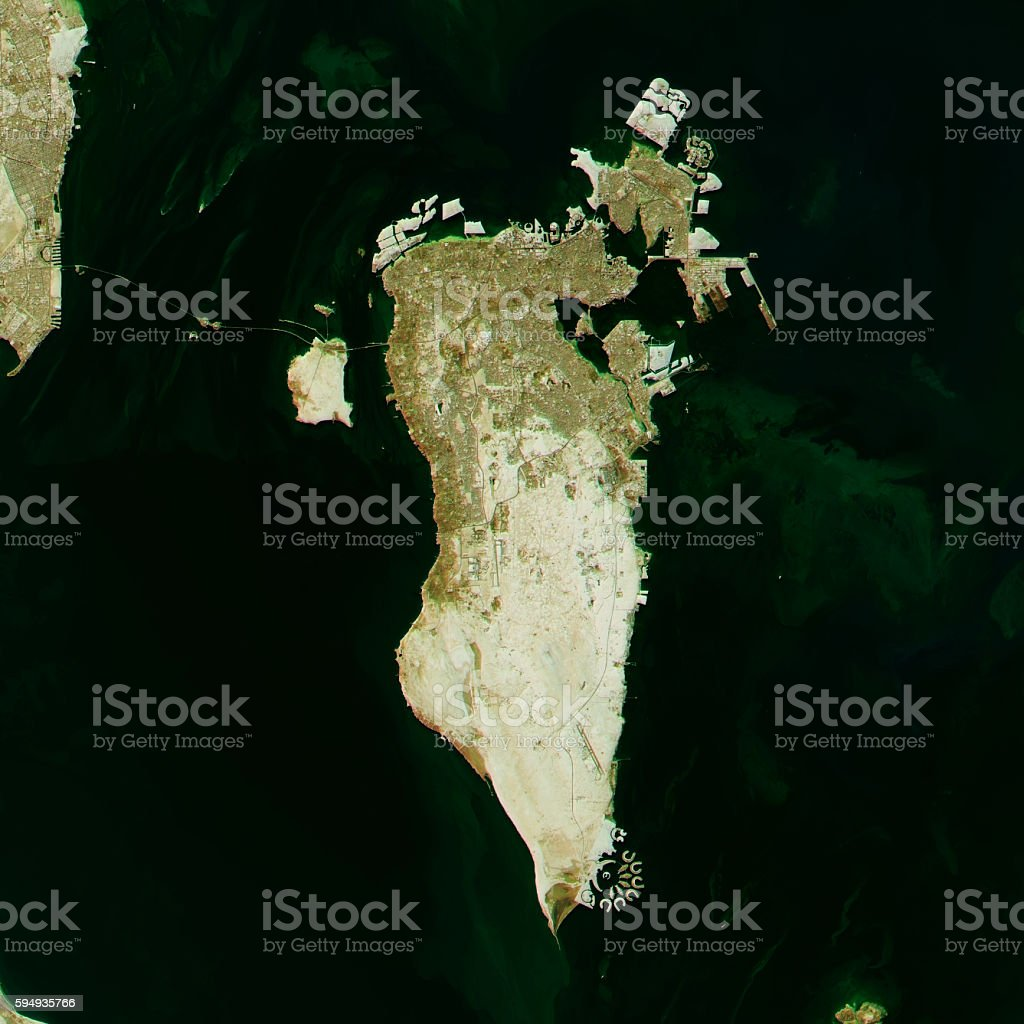 Bahrain Topographic Map Natural Color Top View stock photo