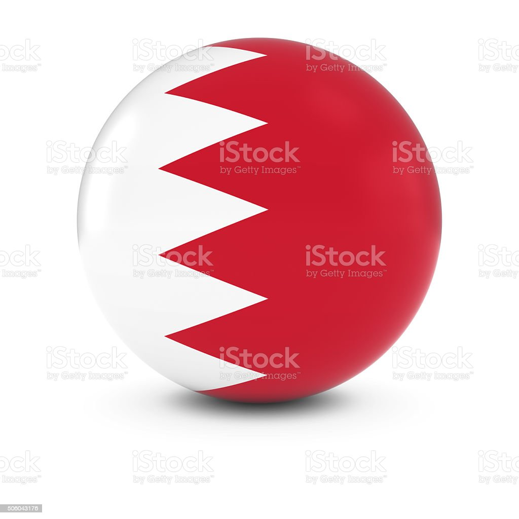 Bahraini Flag Ball - Flag of Bahrain on Isolated Sphere stock photo