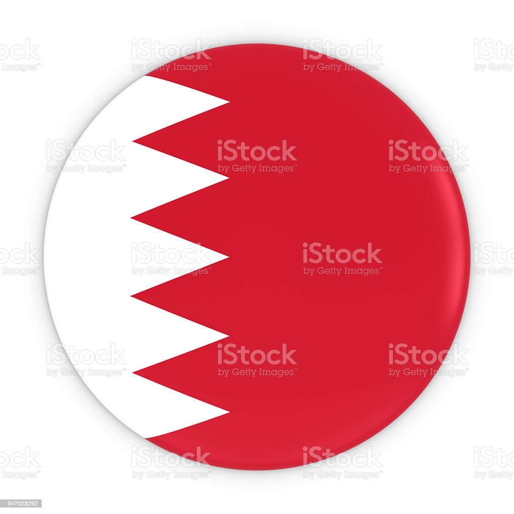 Bahraini Flag Button - Flag of Bahrain Badge 3D Illustration stock photo