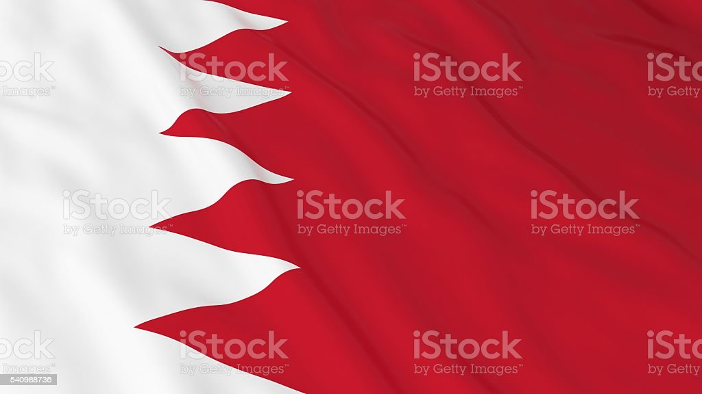 Bahraini Flag HD Background - Flag of Bahrain 3D Illustration stock photo
