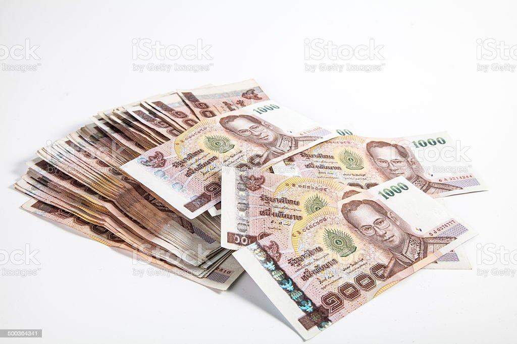 1000 baht Thai bank notes stock photo