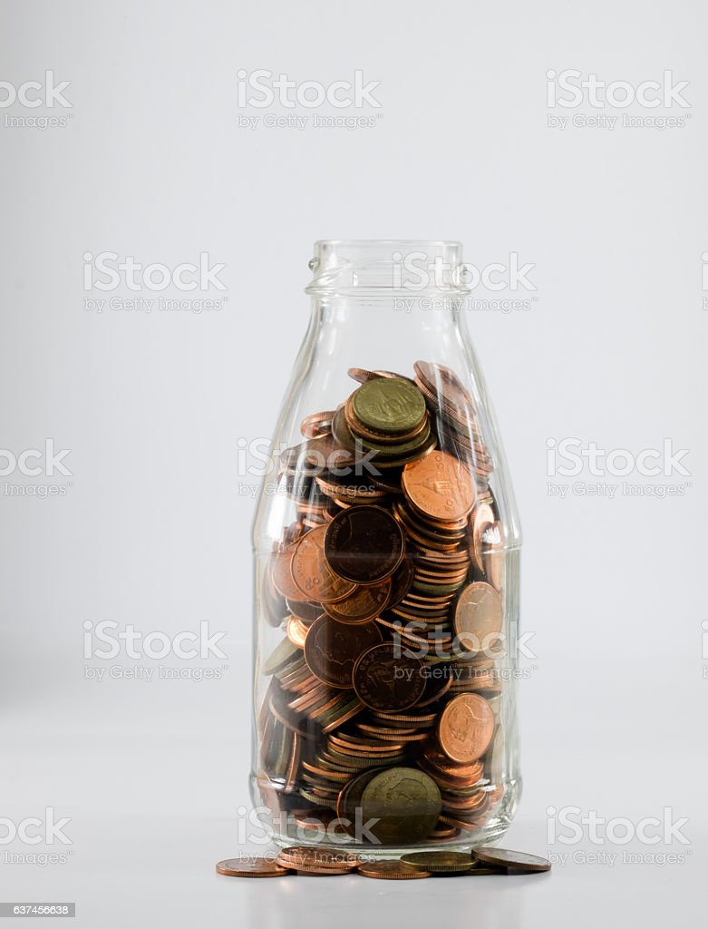 baht thai in glass bank as element accumulation stock photo