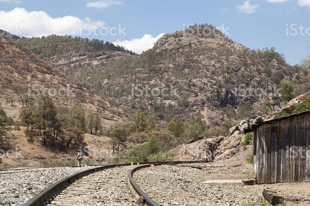 Bahuichivo railway track, heart of the Copper Canyon, Mexico stock photo