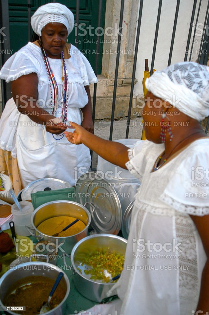 Baiana Brazilian Acaraje Vendors Sell in Salvador Bahia Brazil royalty-free stock photo