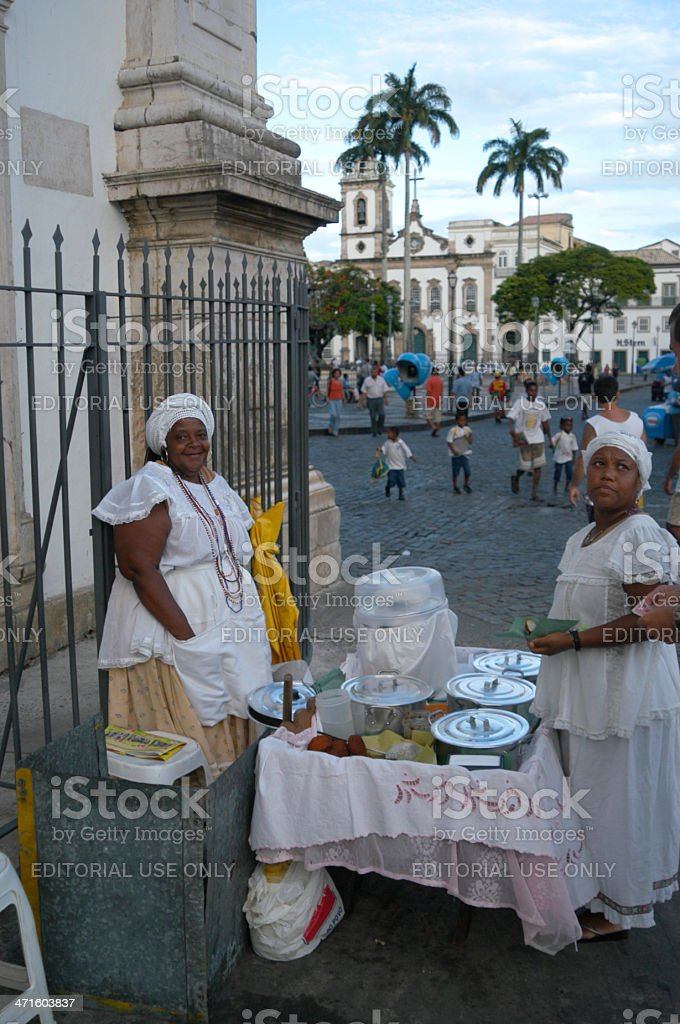Baiana Brazilian Acaraje Vendors Sell Pelourinho Salvador Bahia Brazil royalty-free stock photo
