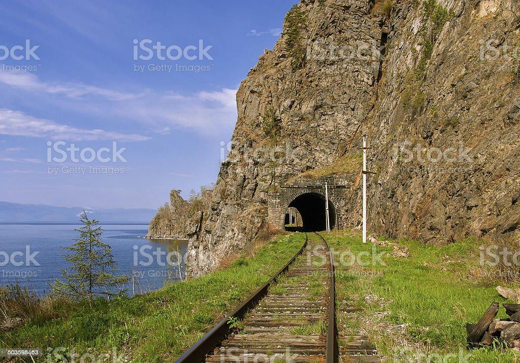Baikal railroad stock photo