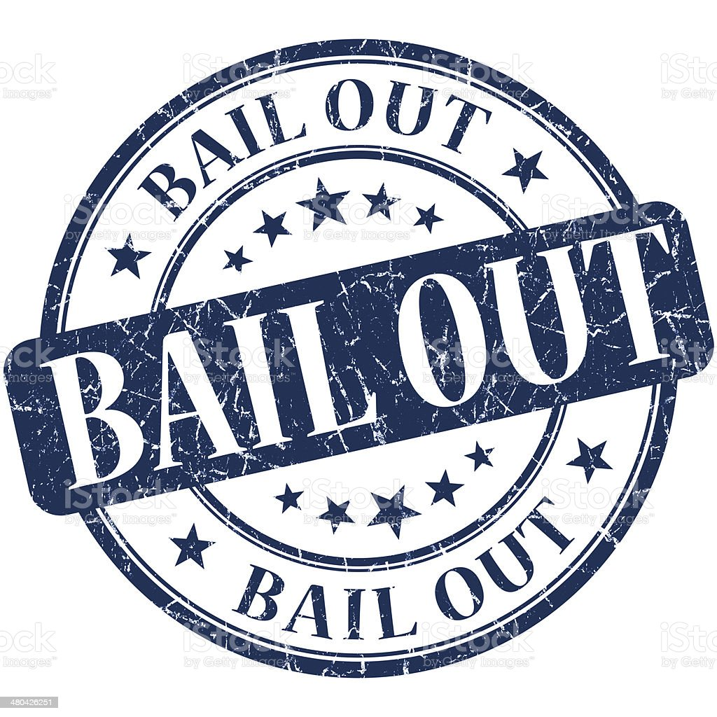 Bail out grunge blue round stamp stock photo