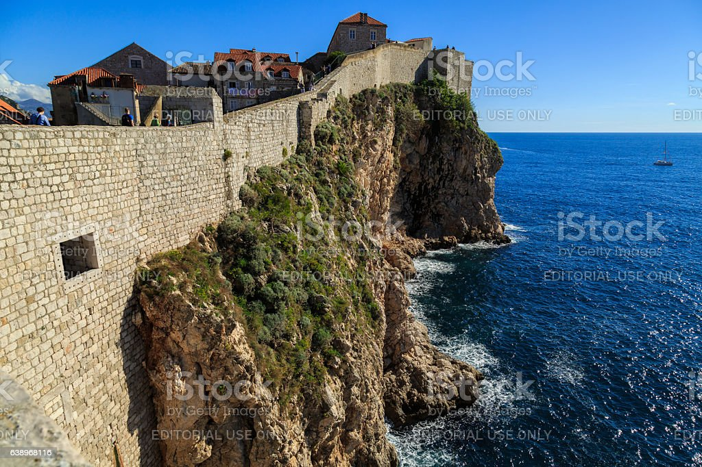 Bailay of Dubrovnik with the Adriatic sea below stock photo