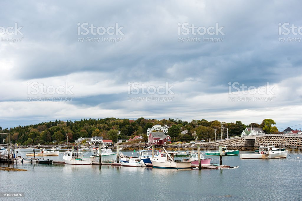 Bailey Island Cribstone Bridge, Harpswell, Maine stock photo