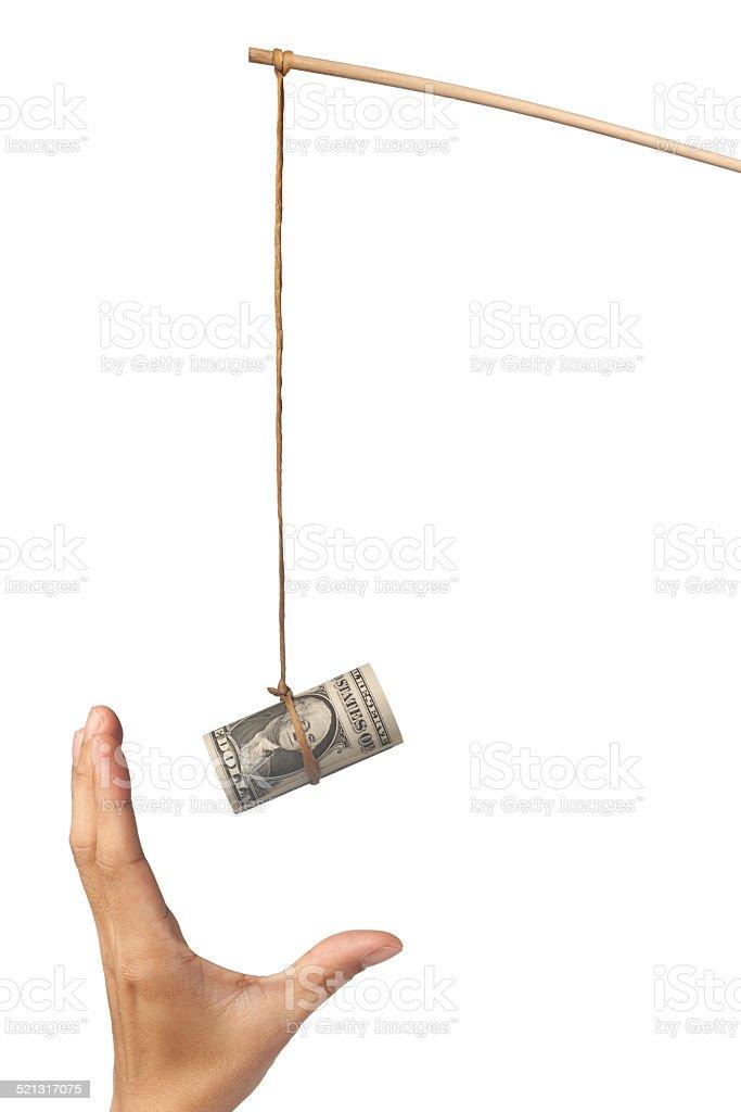 Baiting with money stock photo