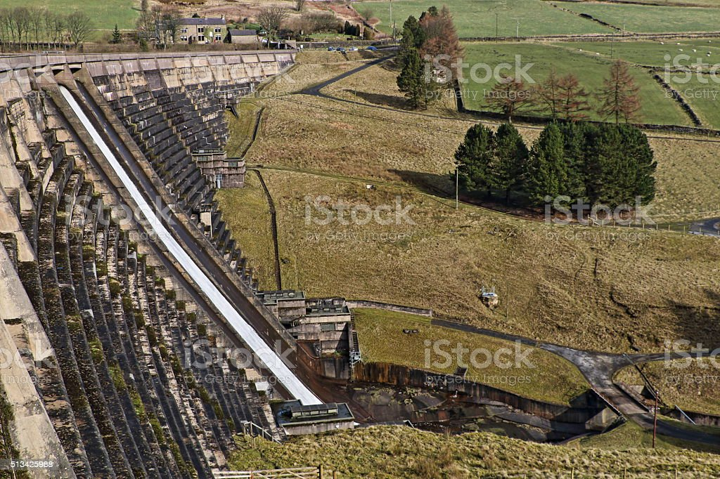 Baitings Dam, West Yorkshire, England, Structural Perspective stock photo