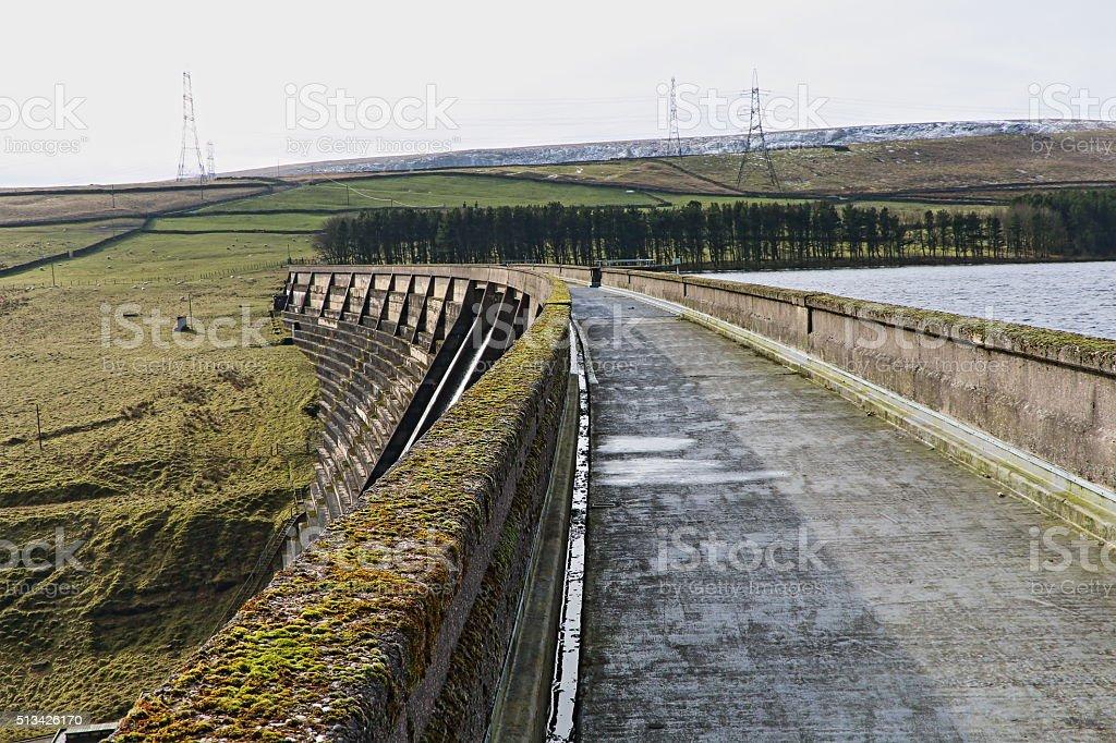 Baitings Dam, West Yorkshire, England, Walkway stock photo