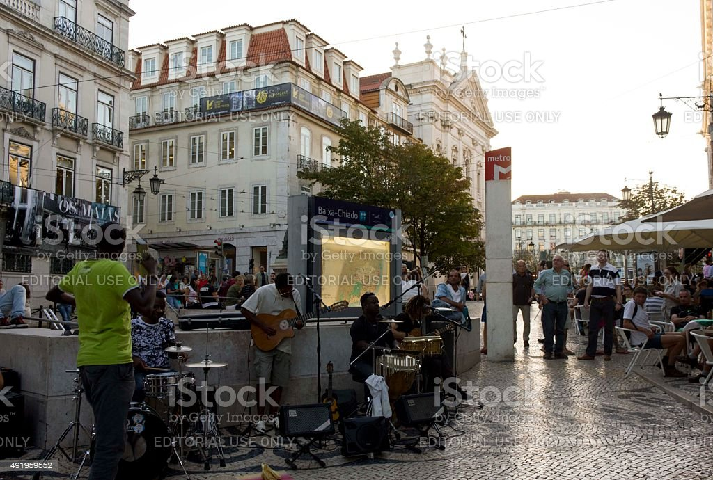 Baixa Chiado metro station in Lisbon, with street  performers stock photo