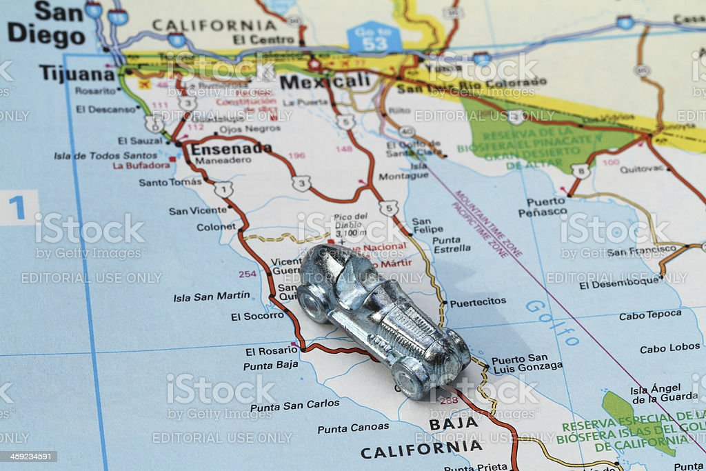 Baja 500 map with racer. royalty-free stock photo