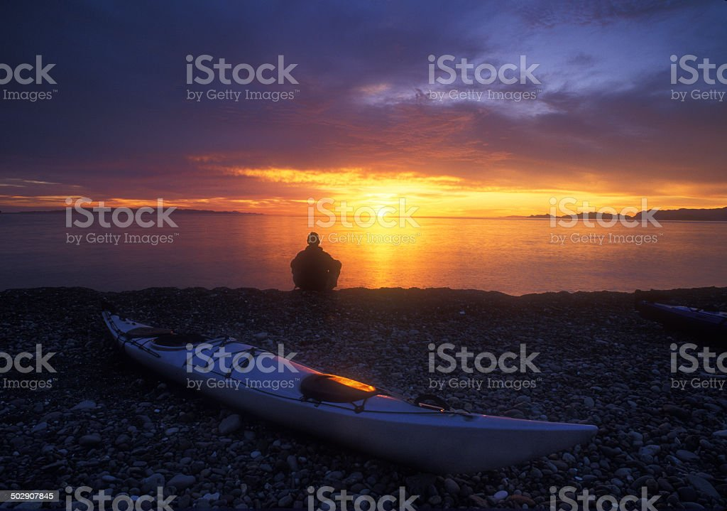 Baja Kayaker Sunrise stock photo