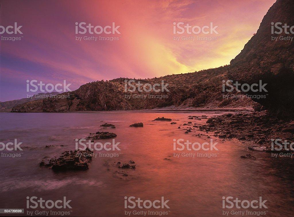 Baja Mainland Sunset Glow stock photo