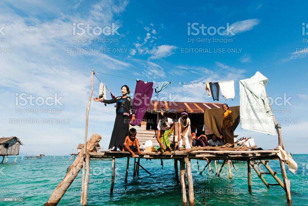 Bajau Laut Family stock photo