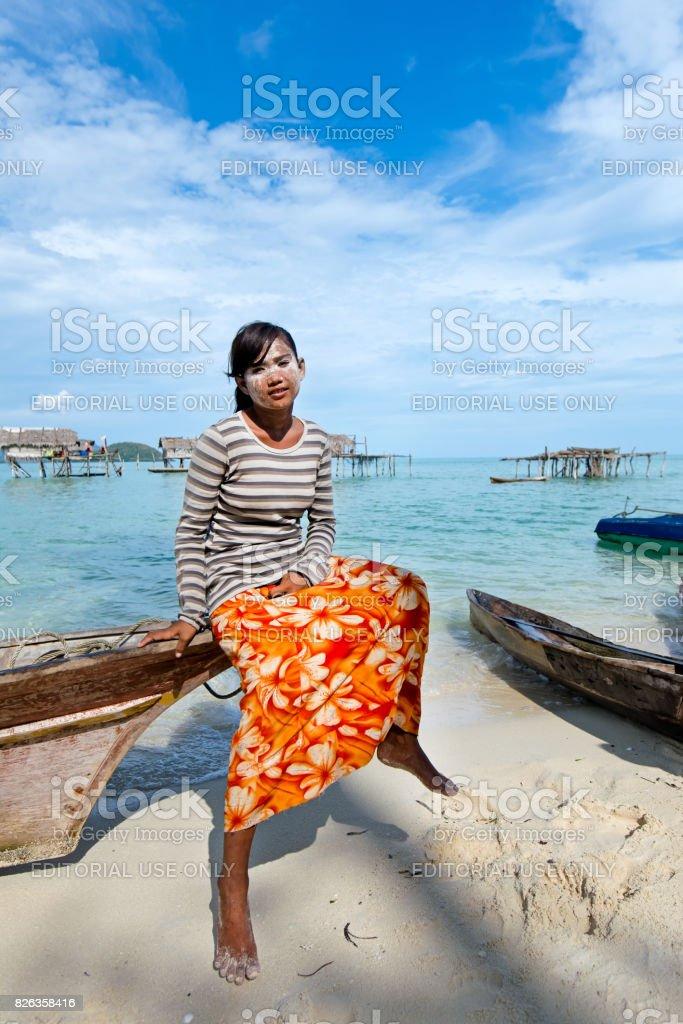 Bajau Laut Girl at Maiga Island Beach stock photo