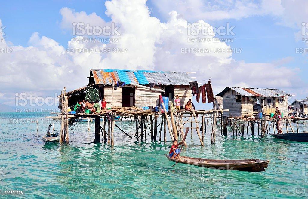 Bajau Laut kid at village in Sabah Borneo, Malaysia stock photo