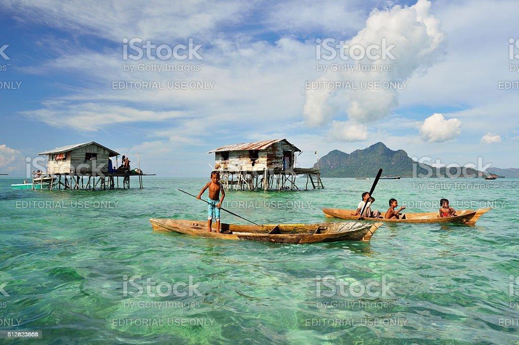 Bajau Laut kids stock photo
