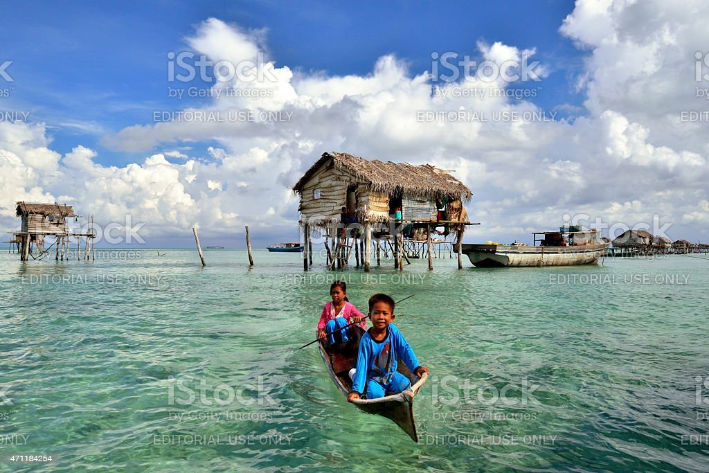 Bajau Sea Gypsies Kids, Bodgaya Island, Sabah Borneo stock photo