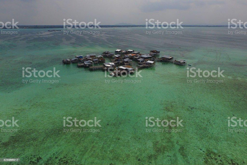 Bajau Village on The Sea stock photo