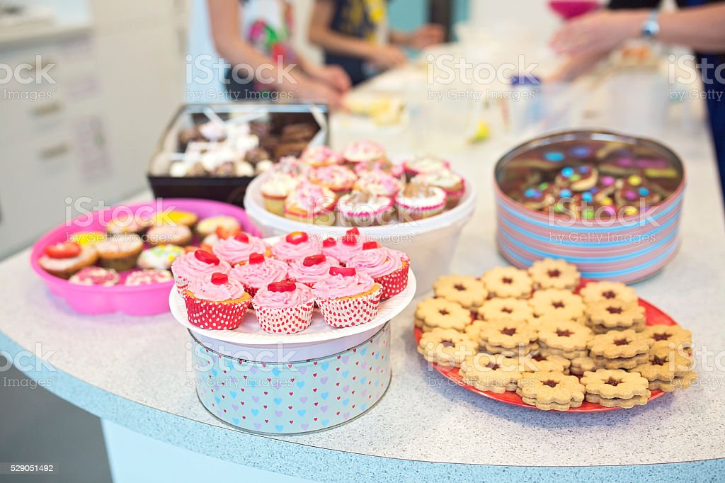 Bake Sale Cookies, Muffins and Cakes. stock photo