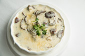 bake with cheese and cream sauce with mushroom