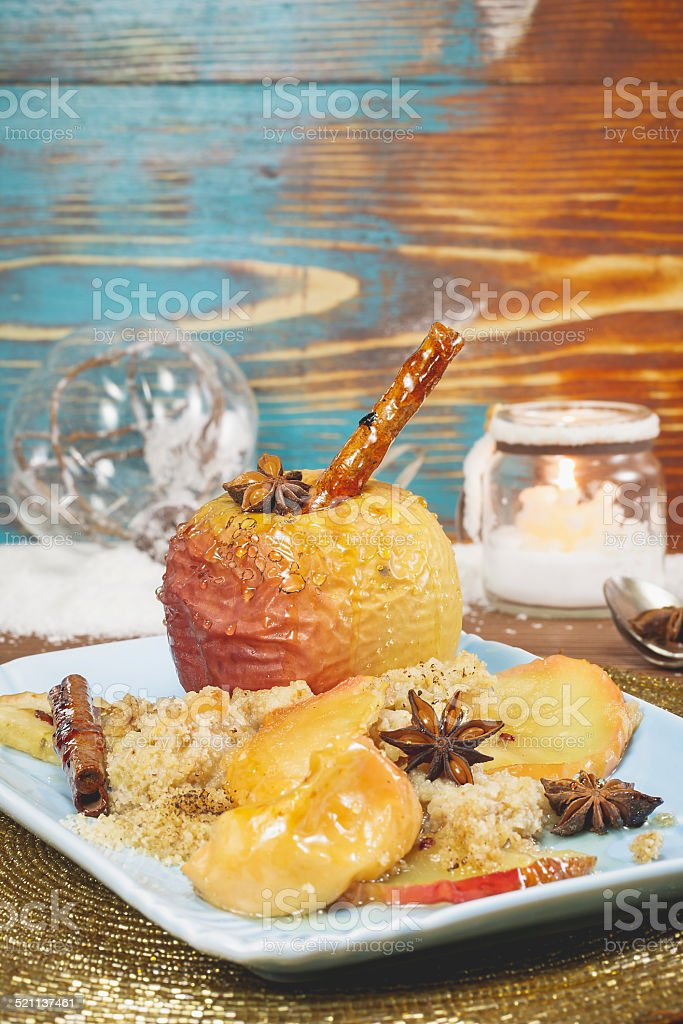 Baked apples served for Christmas stock photo