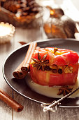 Baked apples stuffed with cream honey and nuts