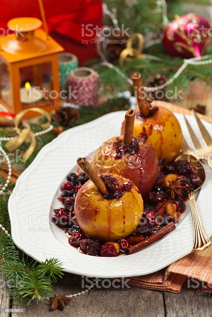 Baked Apples with Cinnamon stock photo
