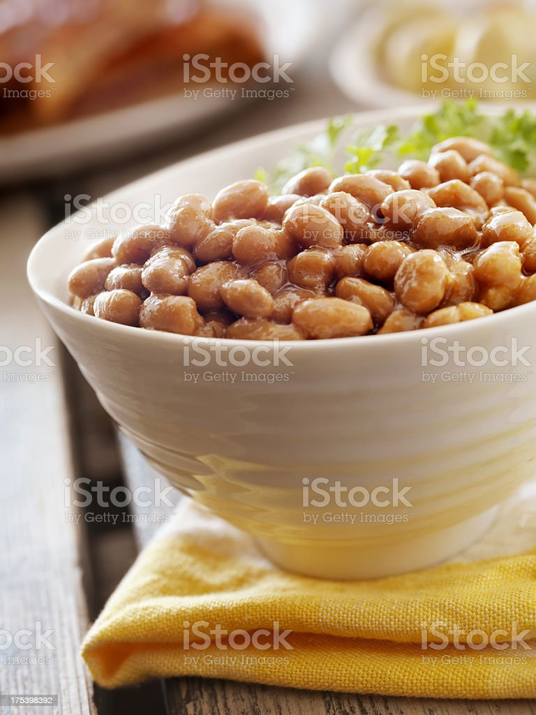 Baked Beans at a Picnic stock photo