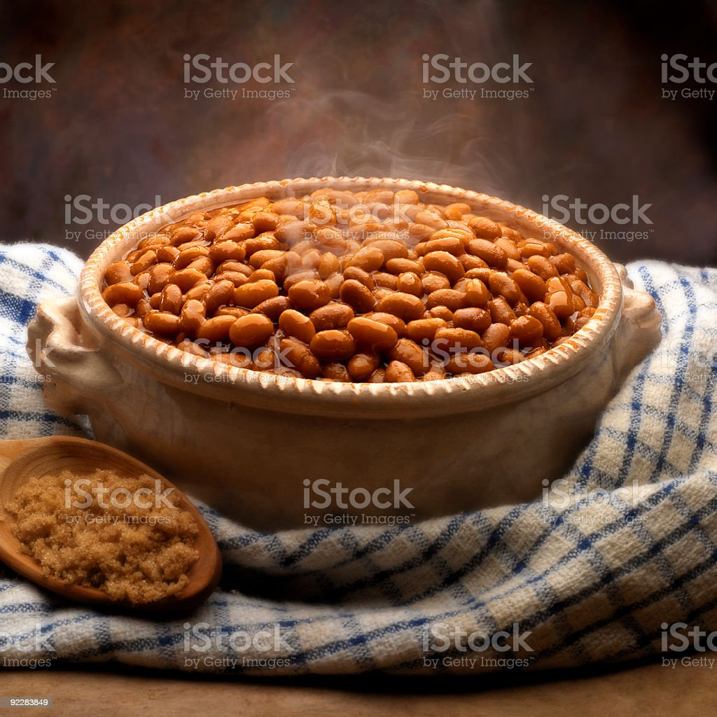 baked beans in bowl stock photo