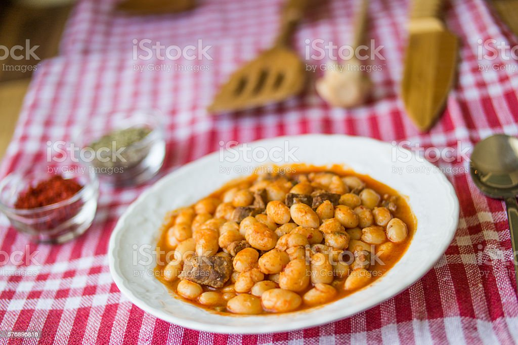 Baked beans / Kuru Fasulye / Turkish Food. stock photo