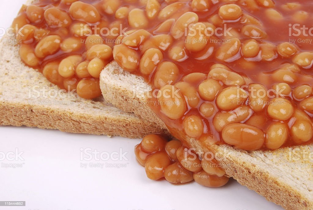 Baked Beans on Toasted Bread royalty-free stock photo
