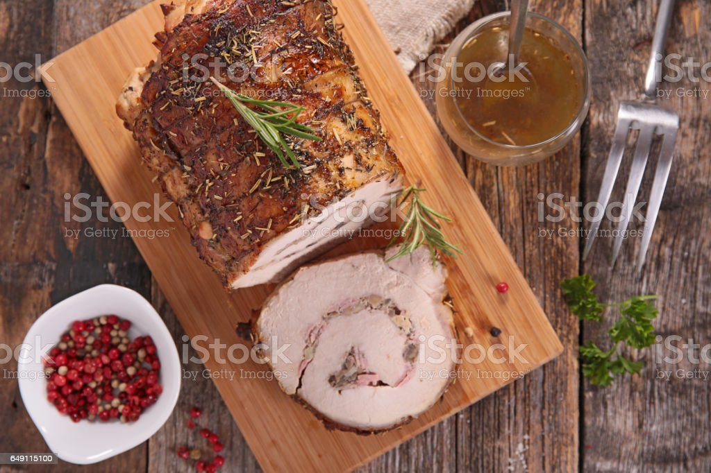 baked beef fillet with herbs stock photo