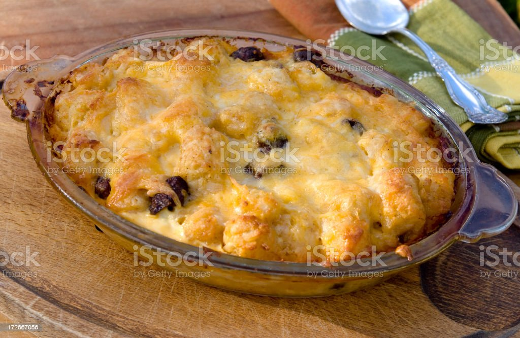 Baked Beef Sausage, Eggs, Cheese & Tater Tot Potatoes Breakfast Casserole royalty-free stock photo