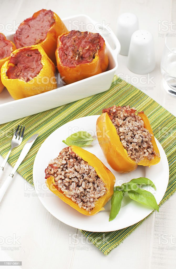 Baked bell pepper stuffed with rice and meat royalty-free stock photo