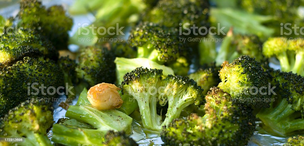 Baked Broccoli & Roasted Vegetables with Sauteed Fresh Garlic royalty-free stock photo