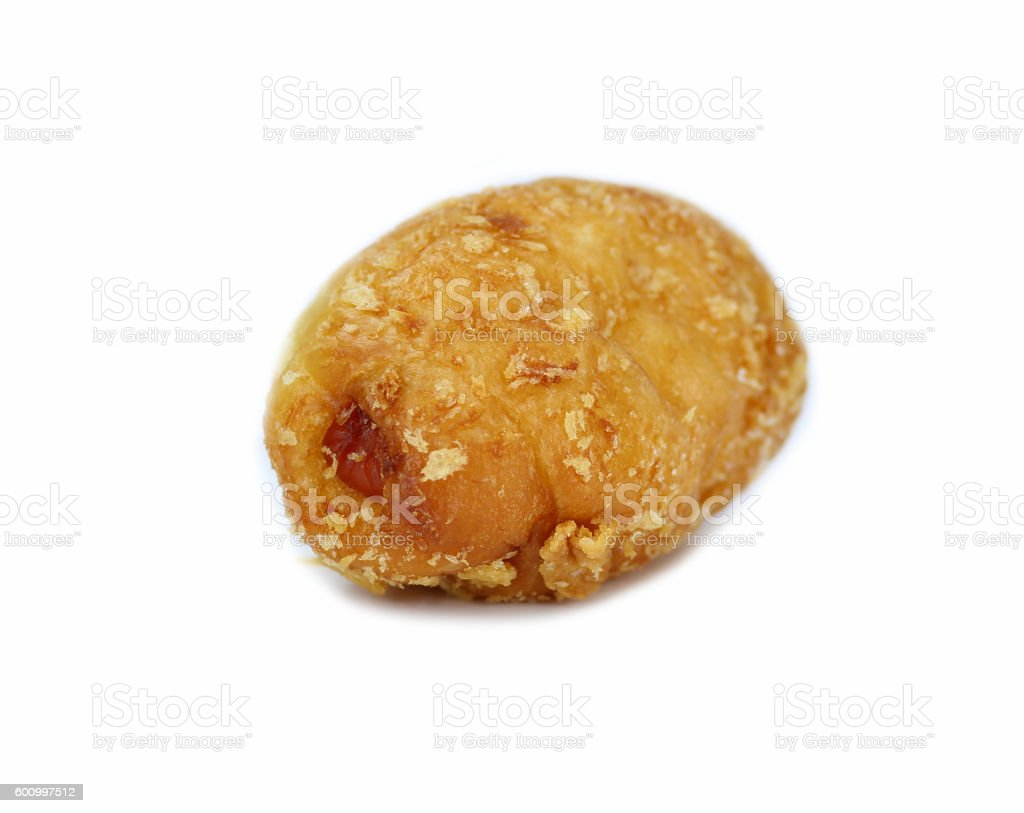 baked bun with sausage inside isolated on white background stock photo