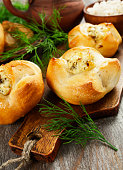 Baked buns stuffed with curd cheese
