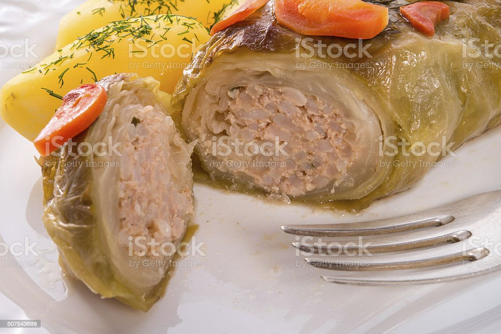 baked cabbage rolls stock photo