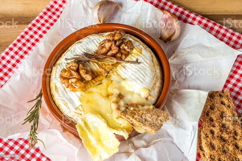 Baked Camembert cheese stock photo