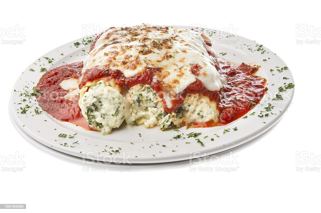 Baked Cheese Manicotti Florentine royalty-free stock photo