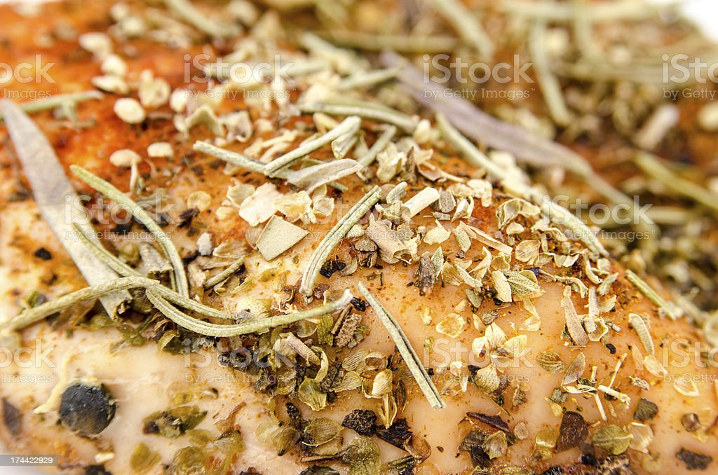 Baked chicken breast - Extreme close-up royalty-free stock photo