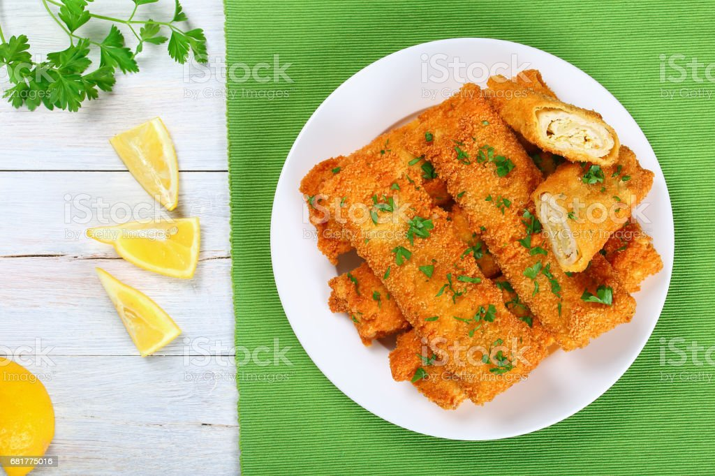 Baked Chicken Enchiladas roll-ups, top view stock photo