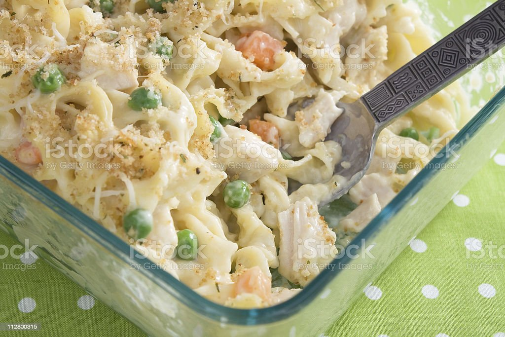 Baked Chicken Noodle Casserole stock photo