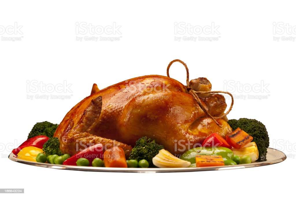 baked chicken or turkey isolated with path on white background stock photo